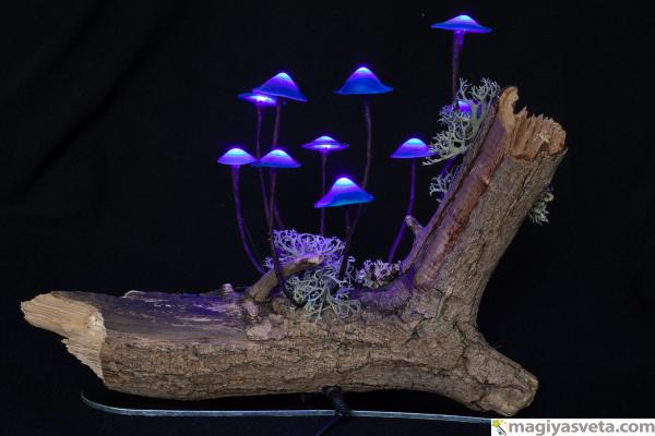 """Магия света - Светильник """"грибы на натуральной коряге"""""""